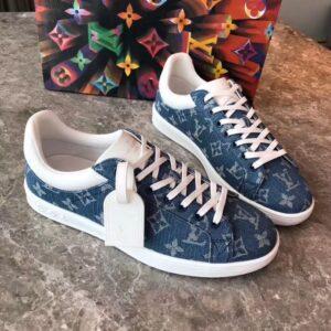Giày louis Vuitton siêu cấp nam màu xanh họa tiết hoa trắng GNLV09