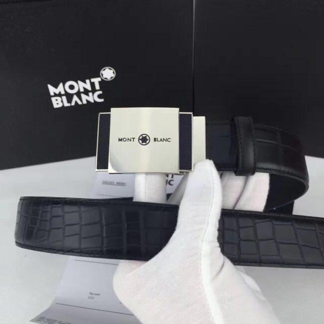 Thắt lưng Montblanc siêu cấp nam dây họa tiết da rắn mặt khóa vuông tự động TLM10
