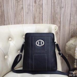 Túi xách nam Hermes siêu cấp da trơn logo chữ H tròn TNHM06
