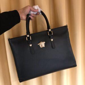 Túi xách nam Versace siêu cấp da nhăn logo vàng TNV10