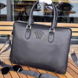 Túi xách nam Versace siêu cấp da trơn dập logo TNV02