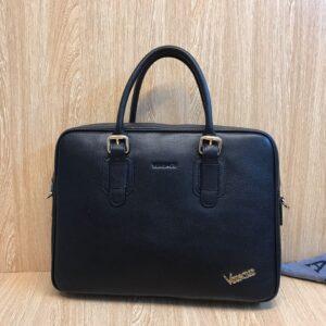 Túi xách nam Versace da trơn đính logo góc TNV04