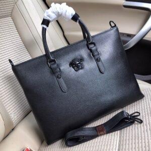 Túi xách nam Versace siêu cấp da trơn gắn logo giữa TNV03