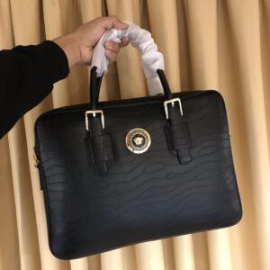 Túi xách nam Versace siêu cấp da vân cá sấu logo tròn TNV08