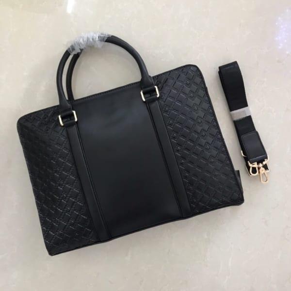 Túi xách nam Versace siêu cấp họa tiết caro tag giữa logo vàng TNV09