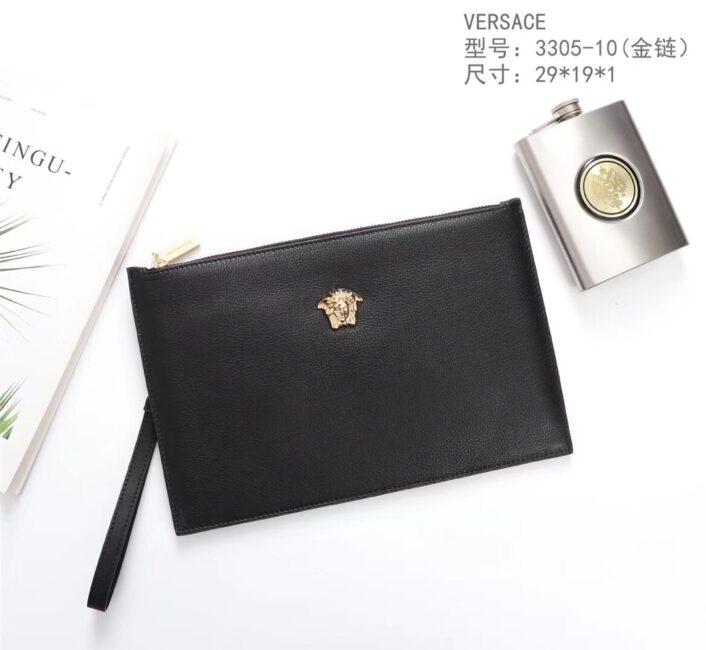 Ví Versace siêu cấp nam cầm tay da sần logo vàng VNV15