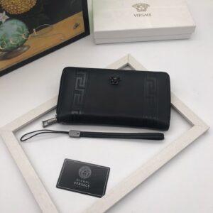 Ví Versace siêu cấp nam dáng dài da trơn họa tiết vân góc logo đen VNV08