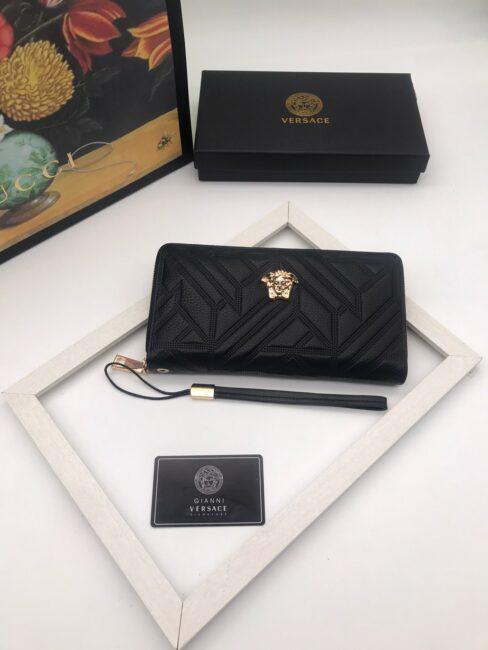 Ví Versace siêu cấp nam dáng dài khóa kéo họa tiết hình học VNV07