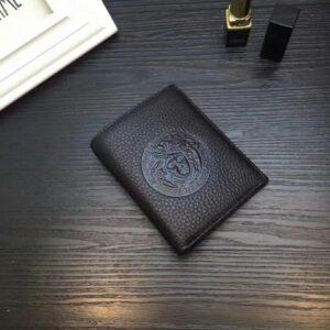 Ví Versace siêu cấp nam dáng ngắn da sần logo tròn dập chìm VNV13
