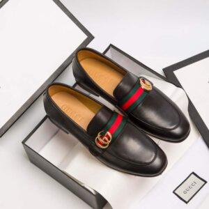 Giày lười Gucci siêu cấp đế cao họa tiết logo GLGC15