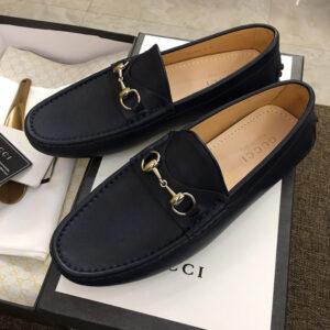 Giày lười gucci siêu cấp họa tiết da lì màu đen GLGC01