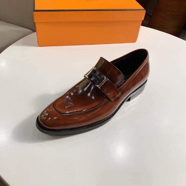 Giày lười Hermes siêu cấp đế cao họa tiết da bóng màu nâu GLH18
