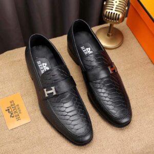 Giày lười Hermes siêu cấp đế cao họa tiết vẩy rắn màu đen GLH19