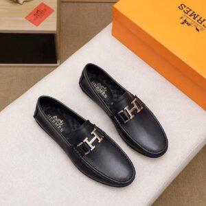 Giày lười Hermes siêu cấp họa tiết da trơn màu đen GLH22