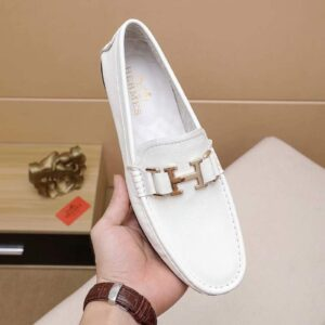 Giày lười Hermes siêu cấp họa tiết logo màu trắng GLLV16