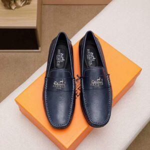 Giày lười Hermes siêu cấp họa tiết tuần lộc màu xanh GLH21