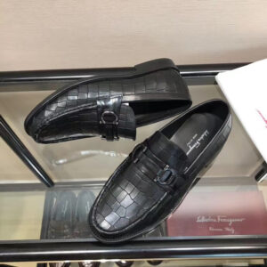 Giày lười Salvatore Ferragamo siêu cấp họa tiết da rạn màu nâu GNSF05