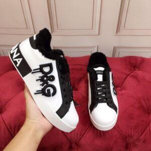 Giày nam Dolce Gabbana siêu cấp họa tiết Logo chữ màu trắng GND05