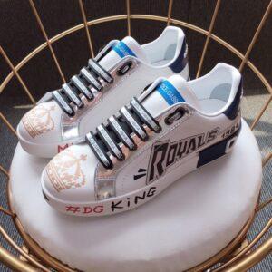 Giày nam Dolce Gabbana siêu cấp họa tiết số màu trắng GND02