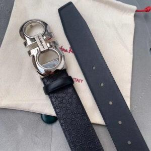 Thắt lưng Savatore Ferragamo họa tiết dây logo khóa trắng TLSF25
