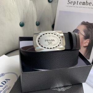 Thắt lưng Prada nam họa tiết dây rạn khóa vuông TLP16