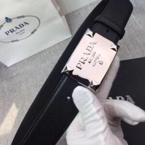 Thắt lưng Prada nam họa tiết mặt vuông màu trắng TLP11