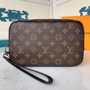 Ví nam Louis Vuitton like auth cầm tay họa tiết hoa nâu vuông VNLV07
