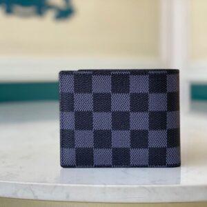 Ví nam Louis Vuitton siêu cấp họa tiết caro xanh đen VNLV33