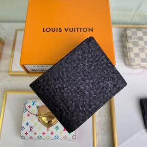 Ví nam Louis Vuitton like auth họa tiết taiga màu đen VNLV02