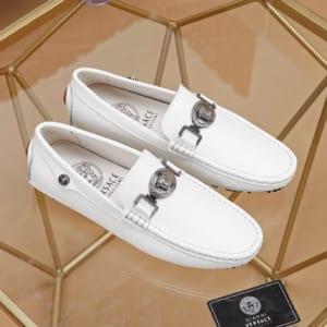 Giày lười Versace siêu cấp họa tiết da nhăn màu trắng GLV07