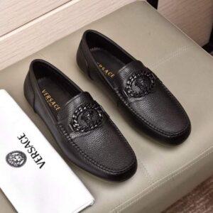 Giày lười Versace siêu cấp họa tiết logo đen GLV03