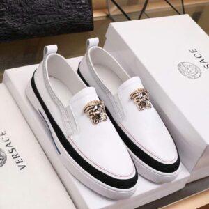 Giày lười Versace siêu câp họa tiết logo vàng GLV04
