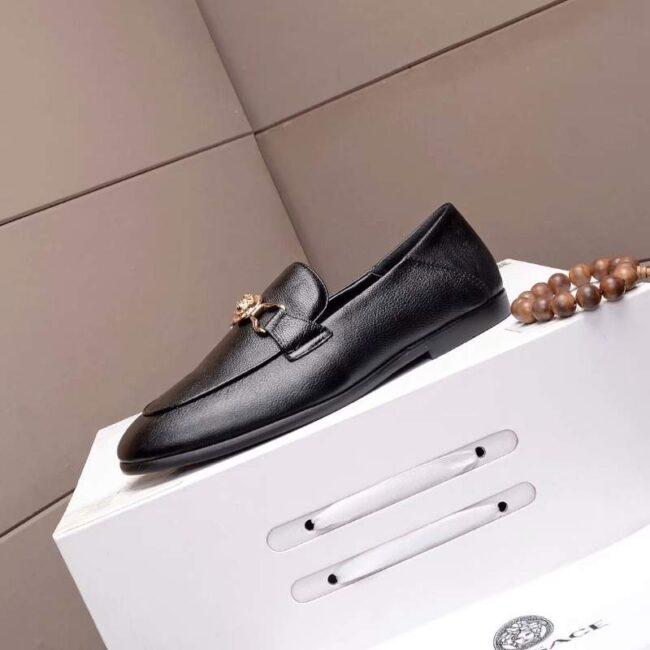 Giày lười Versace siêu cấp họa tiết mặt vàng GLV01