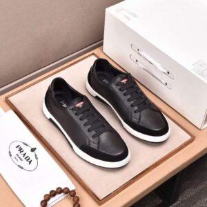 Giày nam Prada siêu cấp họa tiết da nhăn màu đen GNP05