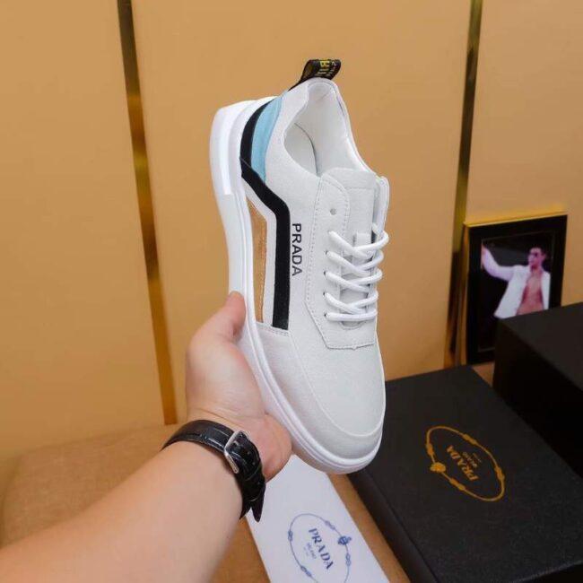 Giày nam Prada siêu cấp họa tiết viền gót xanh đen GNP04