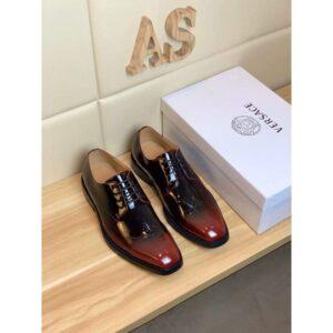 Giày nam Versace siêu cấp đế cao màu nâu bóng GNV09
