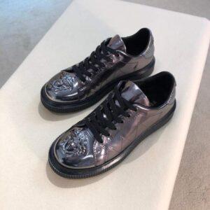 Giày nam Versace siêu cấp họa tiết logo màu xám bạc GNV08
