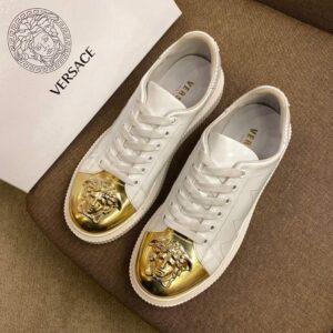 Giày nam Versace siêu cấp họa tiết logo viền vàng màu trắng GNV07