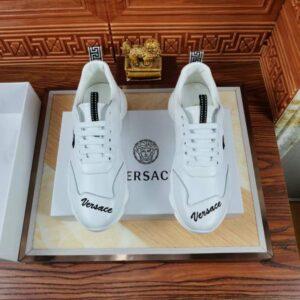 Giày nam Versace siêu cấp họa tiết mặt người ở sườn màu trắng GNV02