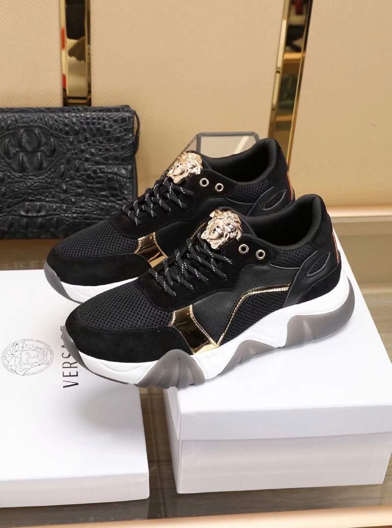 Giày nam Versace siêu cấp họa tiết viền vàng màu đen GNV03