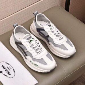 Giày Prada nam siêu cấp họa tiết viền đen xám trắng GNP06