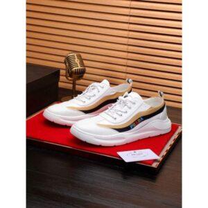 Giày Prada nam siêu cấp họa tiết viền kẻ vàng đen màu trắng GNP09