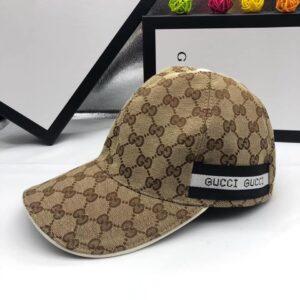 Mũ Gucci nam siêu cấp họa tiết viền kẻ đen màu be MNGC05