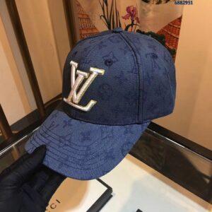 Mũ Louis Vuitton nam siêu cấp họa tiết hoa màu xanh MNLV04