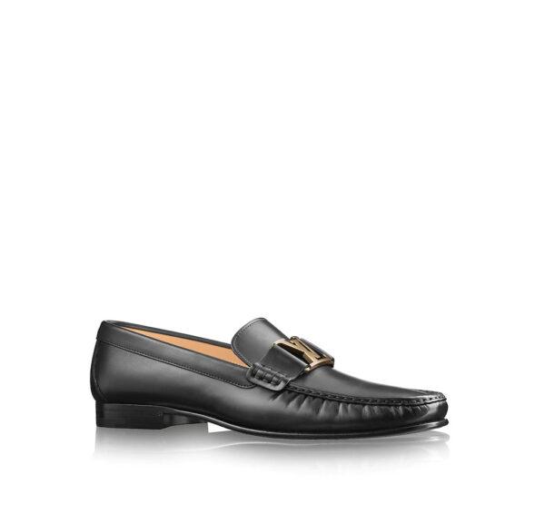 Giày lười Louis Vuitton Like Au đế cao da lỳ khóa vàng GLLV70
