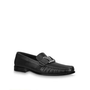 Giày lười Louis Vuitton Like Auth đế cao da trơn khóa viền đen trắng GLLV73