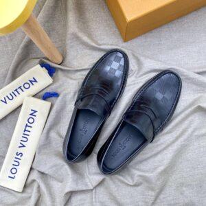 Giày lười Louis Vuitton Like Auth đế cao họa tiết caro dập chìm GLLV71