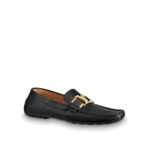 Giày lười Louis Vuitton Like Au da lỳ mặt khóa vàng màu đen GLLV69