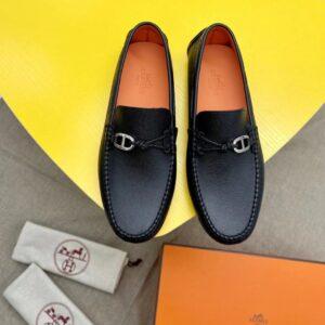 Giày lười Hermes like auth họa tiết khóa lệch GLH25