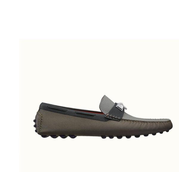 Giày lười Hermes like auth họa tiết móc khóa màu ghi nâu GLH24